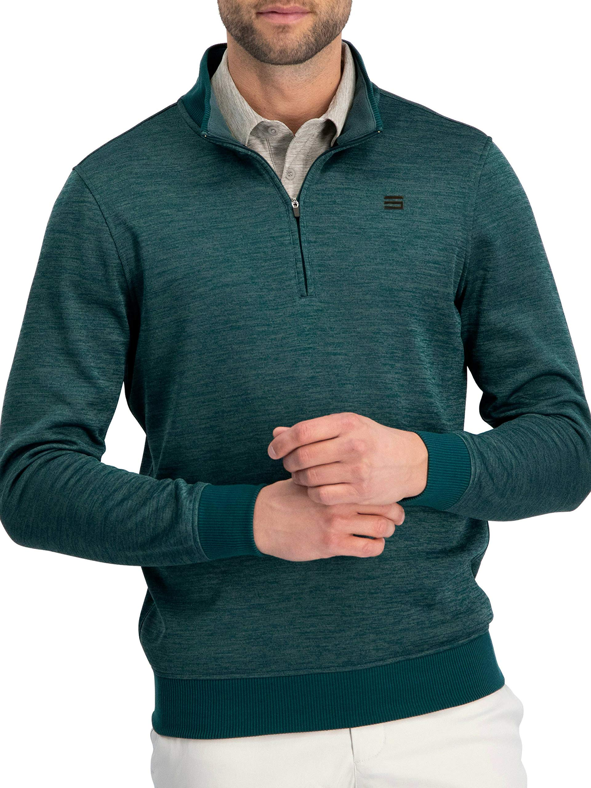 Dry Fit Pullover Sweaters for Men - Quarter Zip Fleece Golf Jacket - Tailored Fit by Three Sixty Six