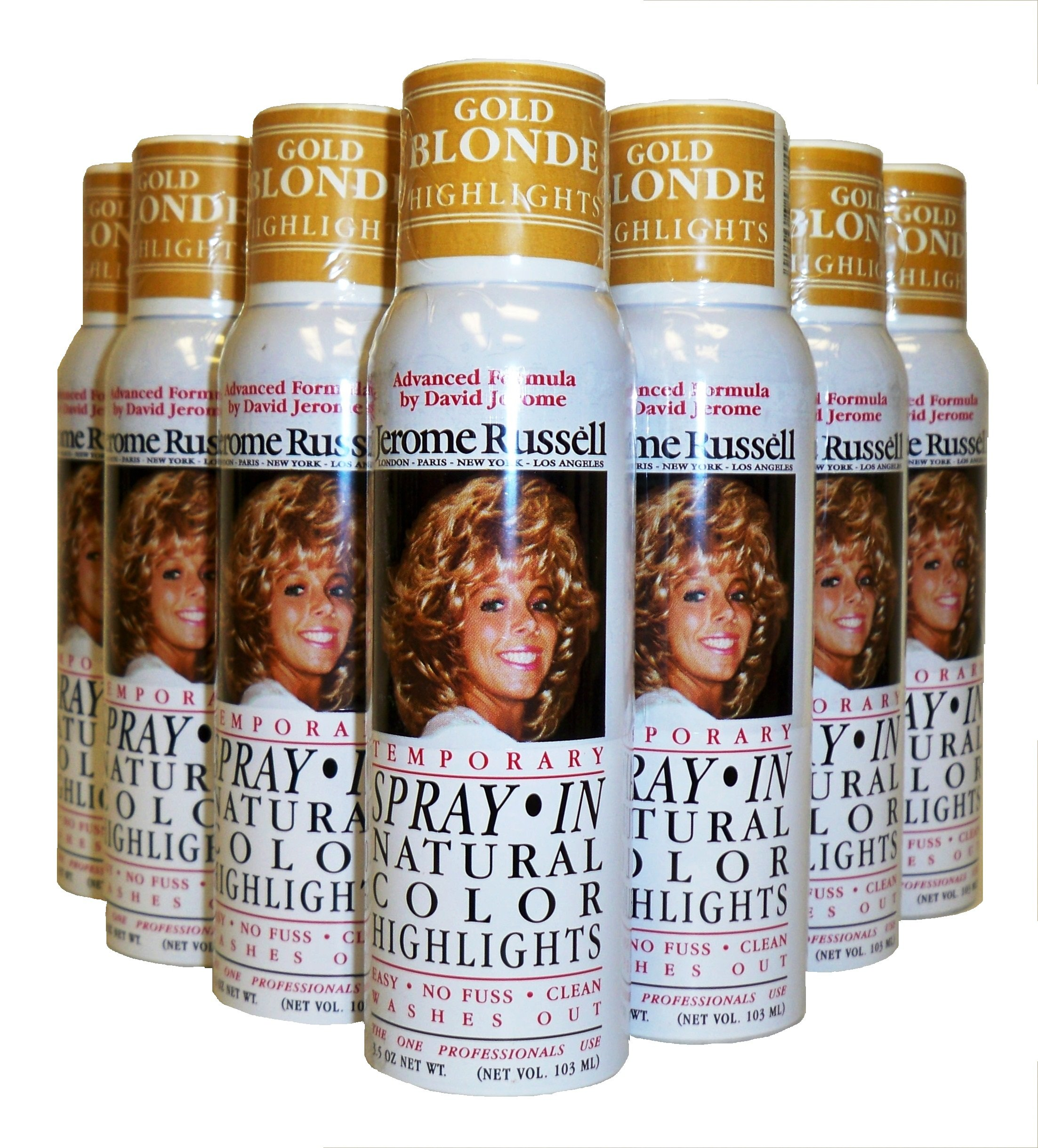Jerome Russell Hair Color Spray Highlights - Shampoos Out - 24 Cans (Gold Blonde) by Jerome Russell
