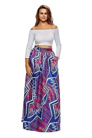 cbf33d9780e Amazon.com  Luyuthic Women African Print Plus Size High Waist Ankara Maxi  Skirt  Clothing