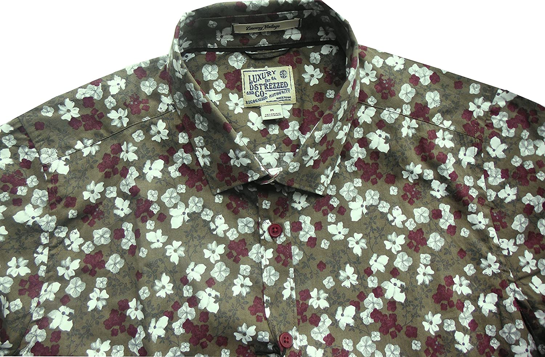 Dstrezzed Freizeithemd saddle brown allover Flowerprint