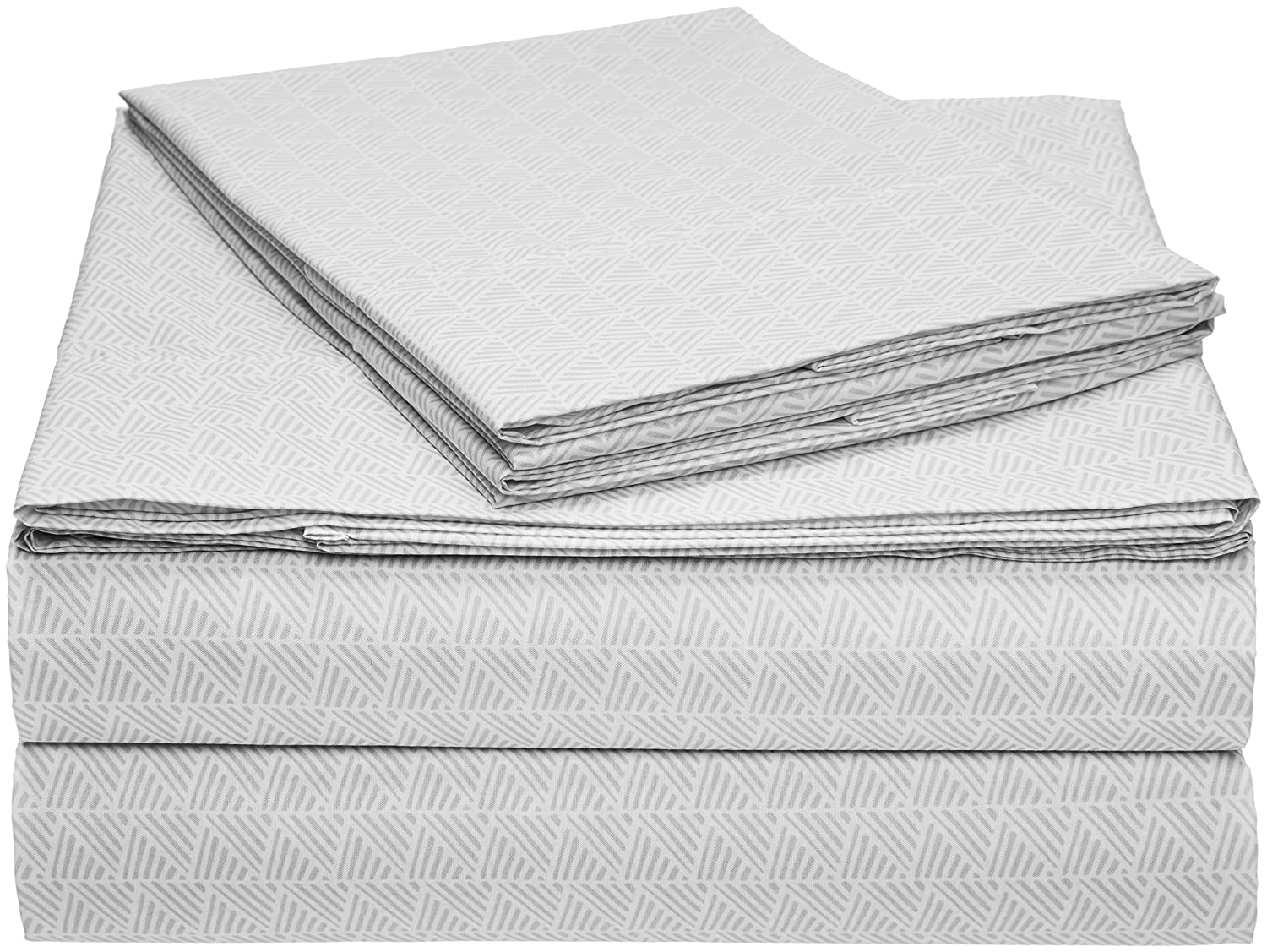AmazonBasics Microfiber Sheet Set - Full, Grey Crosshatch
