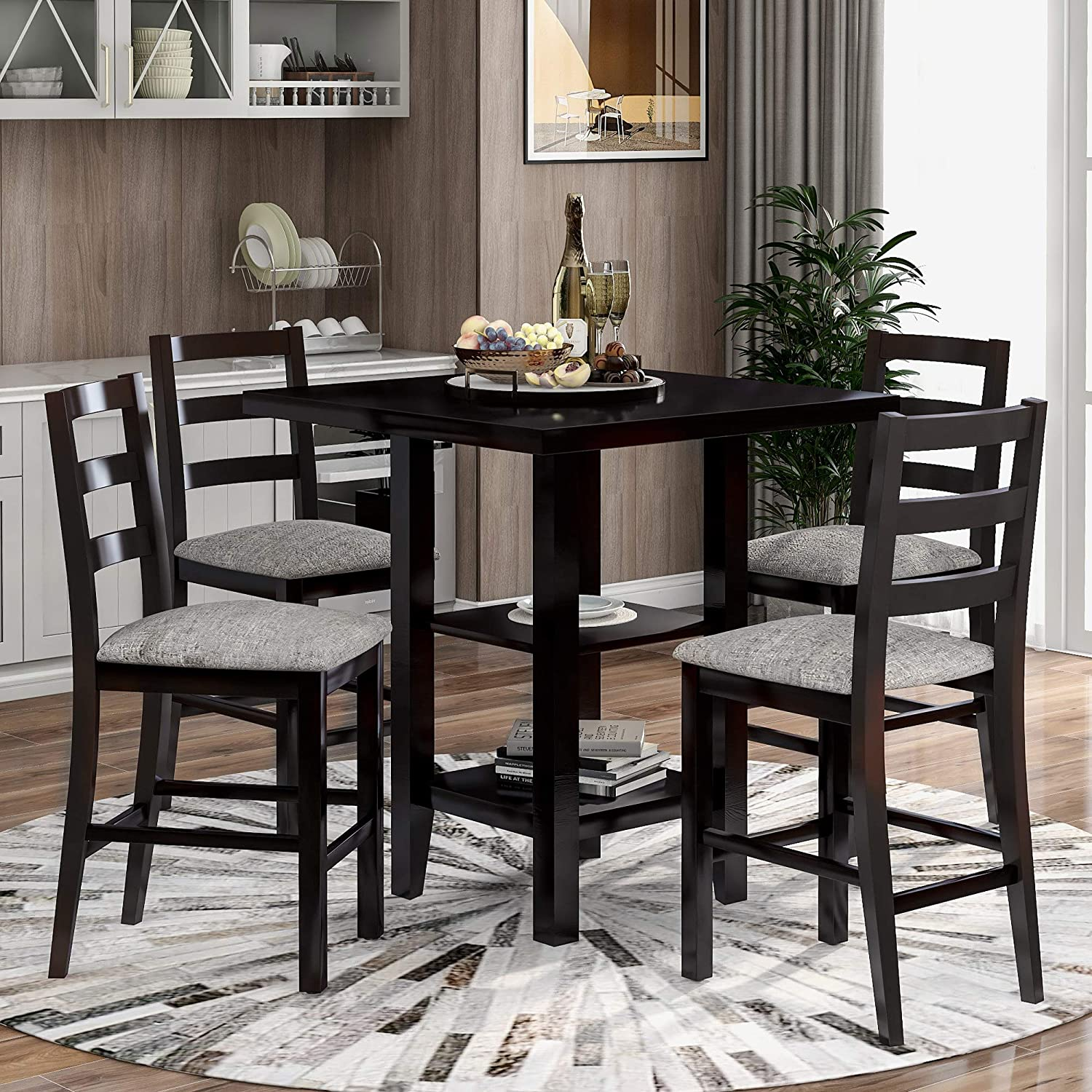 5 Piece Dining Table Set Wood Counter Height Dining Set Square Kitchen Table With 2 Tier Storage Shelf And 4 Padded Chairs Espresso Home Kitchen Kitchen Dining Room Furniture Ekoios Vn