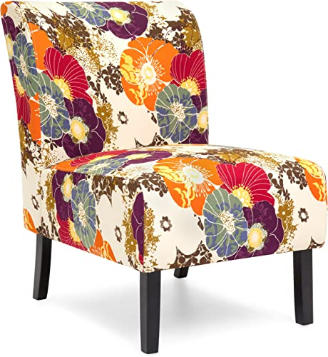 Best Choice Products Modern Contemporary Upholstered Armless Accent Chair – Floral Multicolor