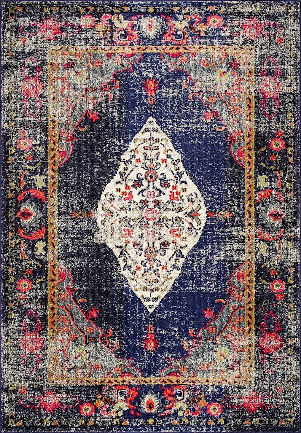 nuLOOM Traditional Rectangle Area Rug 5 3 x7 7 in Navy Color from Vintage Medallion Veronica Collection