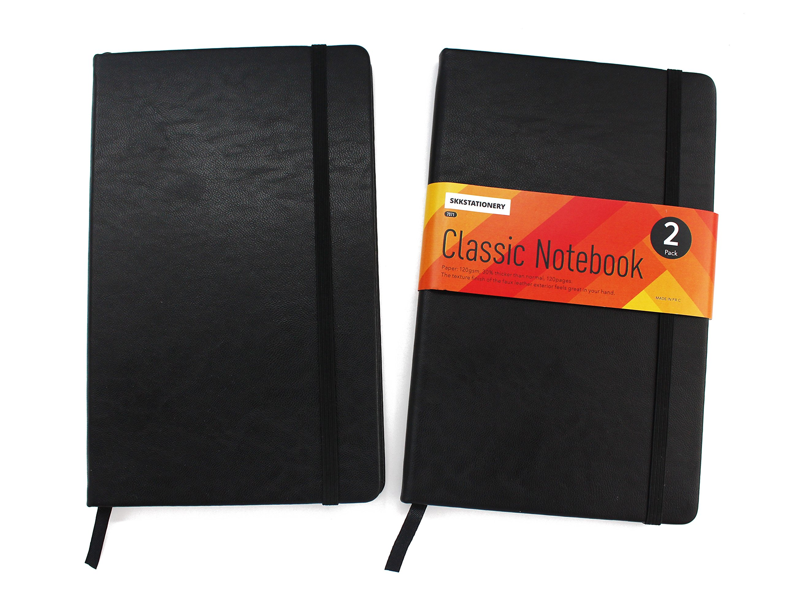 SKKSTATIONERY 2 Pack Classic Ruled Notebooks/Journals, 240 Pages, Premium Thick Paper Faux Leather Writing Notebook, Black, Hard Cover, Large, Lined