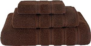 American Soft Linen 3 Piece, Turkish Cotton Premium & Luxury Towels Bathroom Sets, 1 Bath Towel 27x54 inch, 1 Hand Towel 16x28 inch & 1 Washcloth 13x13 inch [Worth $36.95] Chocolate Brown