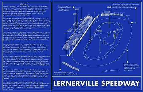 Amazon lernerville speedway blueprint art print 11 x 17 race lernerville speedway blueprint art print 11 x 17 race track sketch malvernweather Choice Image