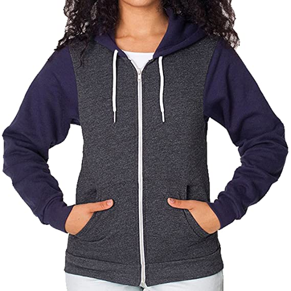 American Apparel Two-Tone Flex Fleece Zip Hoodie