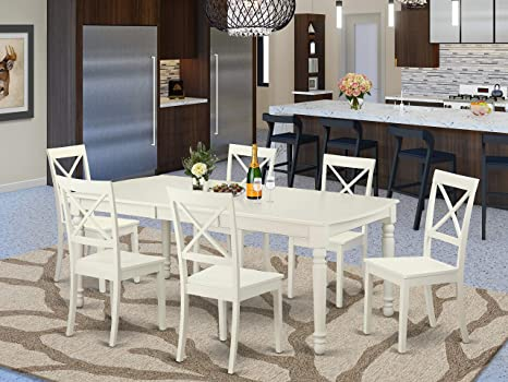 Amazon Com East West Furniture 7 Pcs Kitchen Table Set 6 Excellent Kitchen Dining Chairs A Stunning Dinner Table Wooden Seat And Linen White Butterfly Leaf Modern Dining Table Table Chair Sets