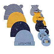 JUST BORN Baby Boys' 8-Piece Cap and Mitten Bundle, Space, Newborn