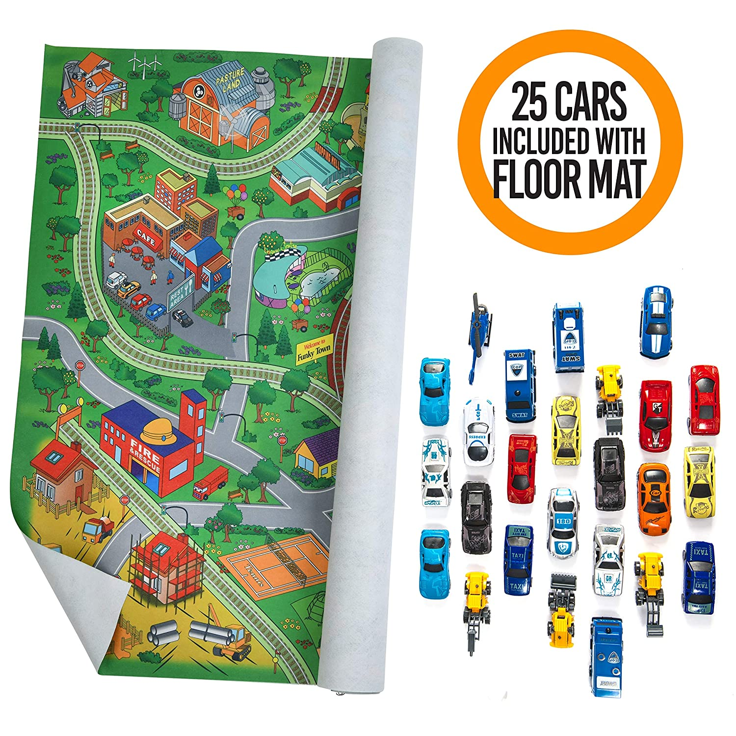 Prextex Giant Fabric Play Mat with 25 Die Cast Toy Cars Included Play Mat Size 5x5 Feet