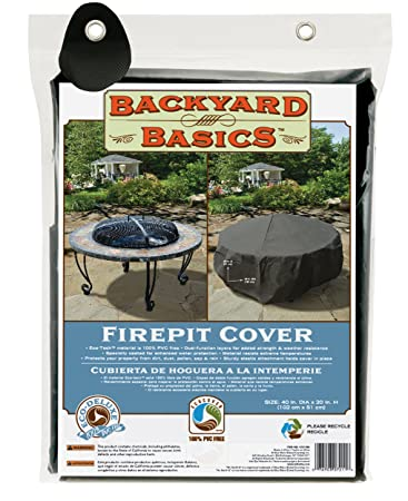 "Backyard Basics Premium Round Fire Pit Cover, 40"" ..."