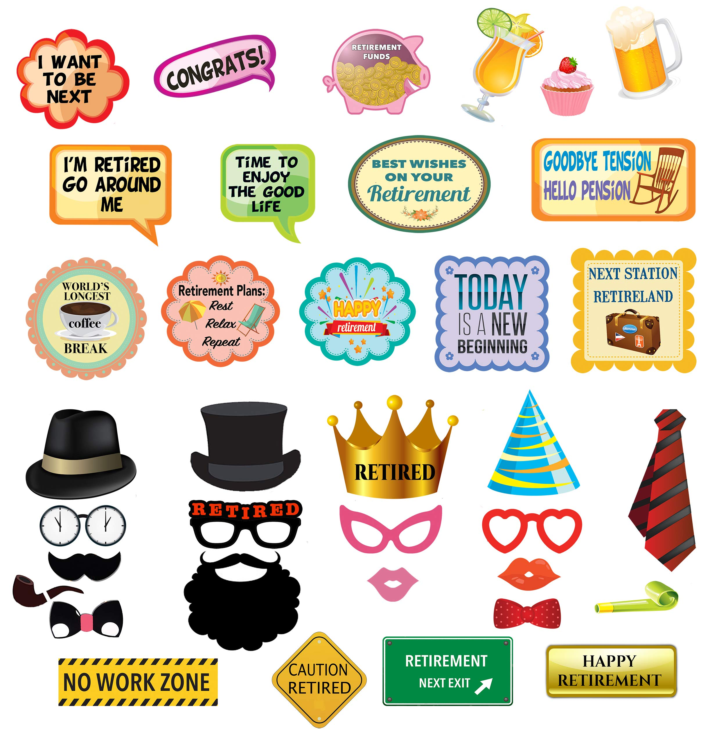 Retirement Party Photo Booth Props - 36 pc Retirement Party Supplies for Pictures and Decorations Includes Colorful Dress-Up Props, Speech Bubbles, Phrase Signs - Unisex Retirement Décor by Scapa Pro