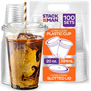 Stack Man [100 Sets - 20 oz.] Clear Plastic Cups with Straw Slot Lid, PET Crystal Clear Disposable 20oz Plastic Cups with lids