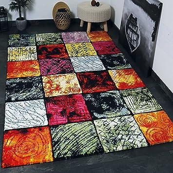 VIMODA Teppich Modern Design Teppich Kurzflor Multicolor Kariert Rot Grün  Schwarz Sehr Pflegeleicht 80x300 Cm