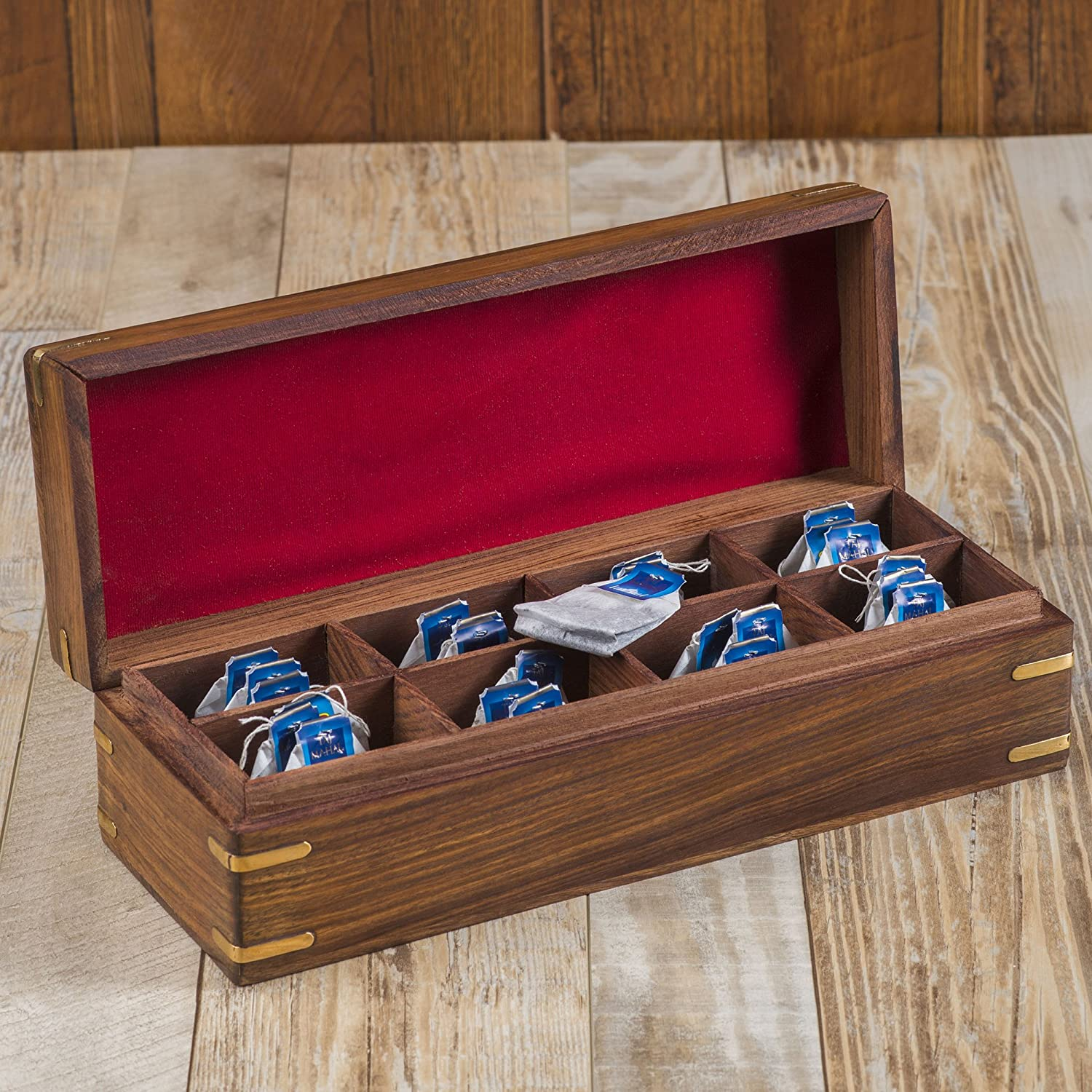 Rusticity Wooden Tea Box / Spice Organizer with Lid - 8 Slots | Handmade | (12x4.5 in)