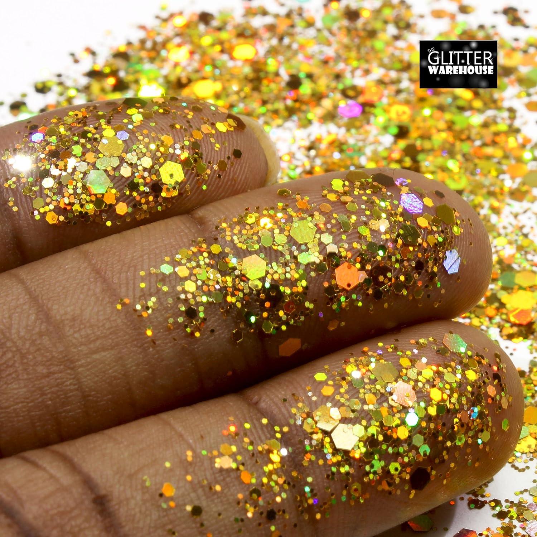 Amazon.com : GlitterWarehouse Gold Chunky Glitter Loose Holographic ...