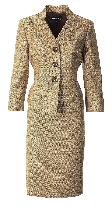 Le Suit Women's Gramercy Park Skirt Suit, Mustard Multi 6