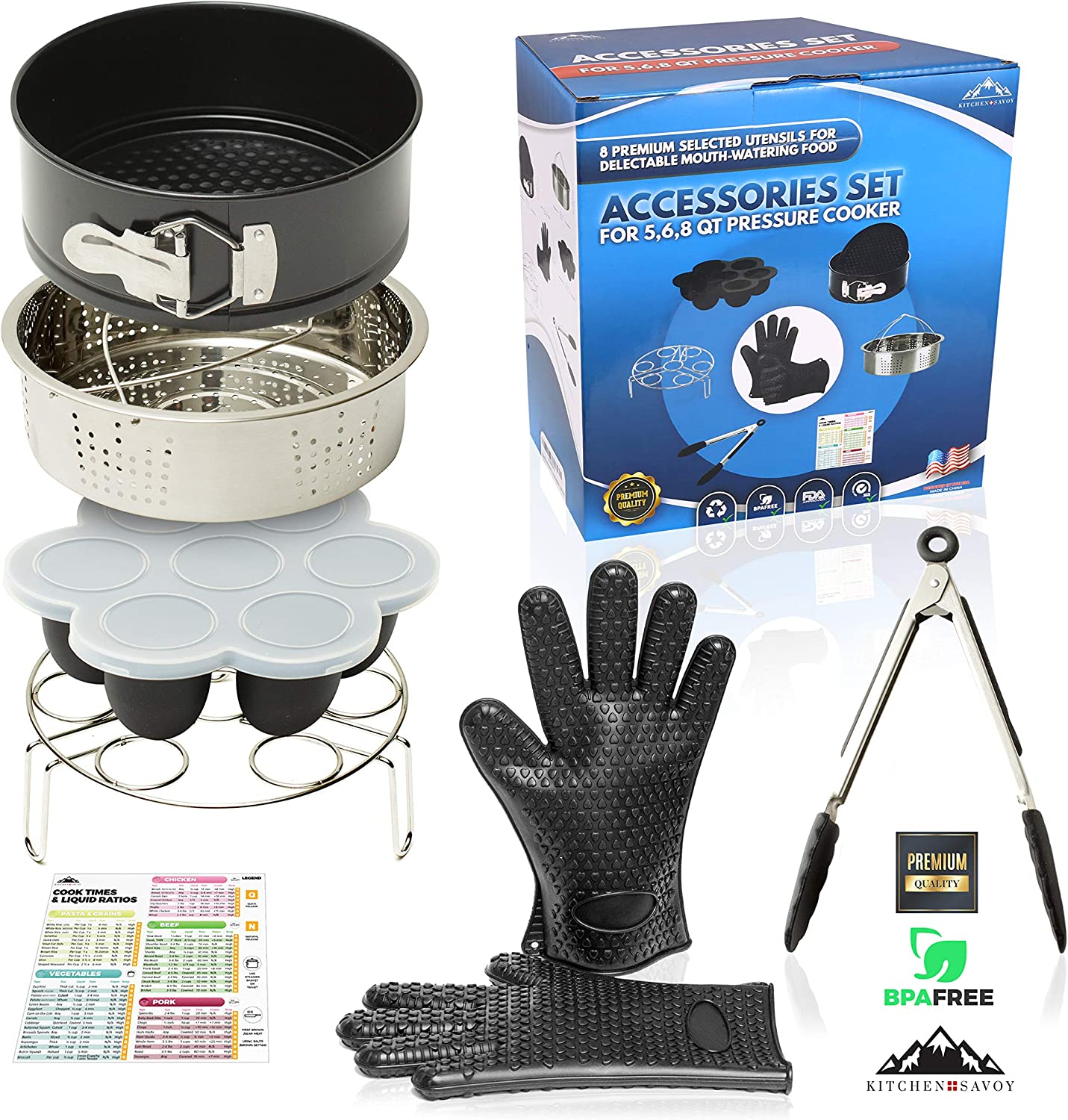 Instant Pot Accessories Set – Fits 5,6,8qt Pressure Cookers - Steamer Basket - Cake Pan - Silicone Gloves - Egg Bites Mold – Kitchen Tongs –– Cook Times Magnetic Cheat Sheet