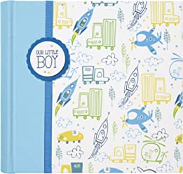 Gibson Blue Cloth Slim Bound Photo Journal Album for Baby and Newborn Boys 9 W x 8.875 H C.R 80 Pages