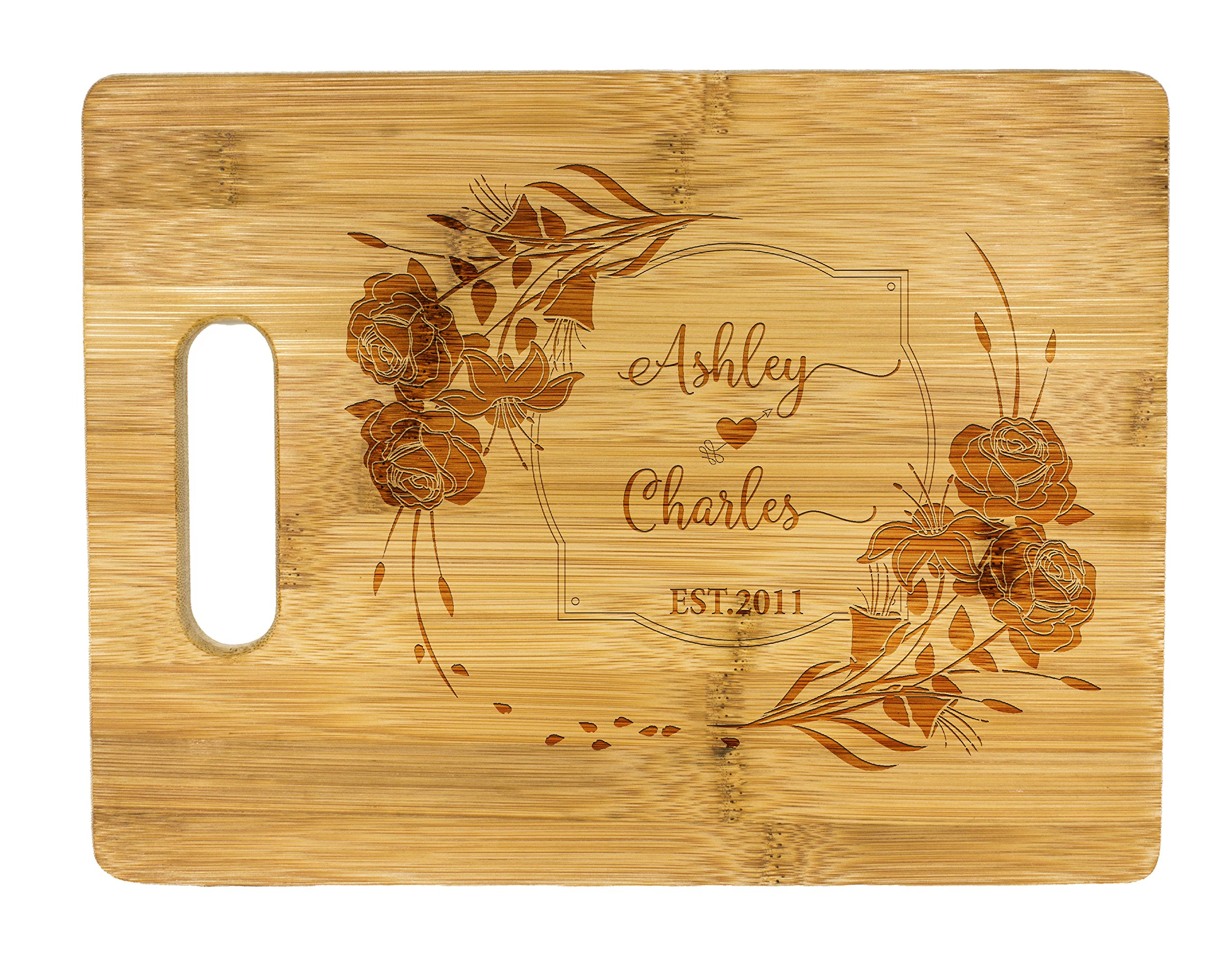 Personalized Cutting Board, Wedding Gift, Family Last Name Laser engraved cutting board ,Wedding Gift for couple, Kitchen decor (Flower)