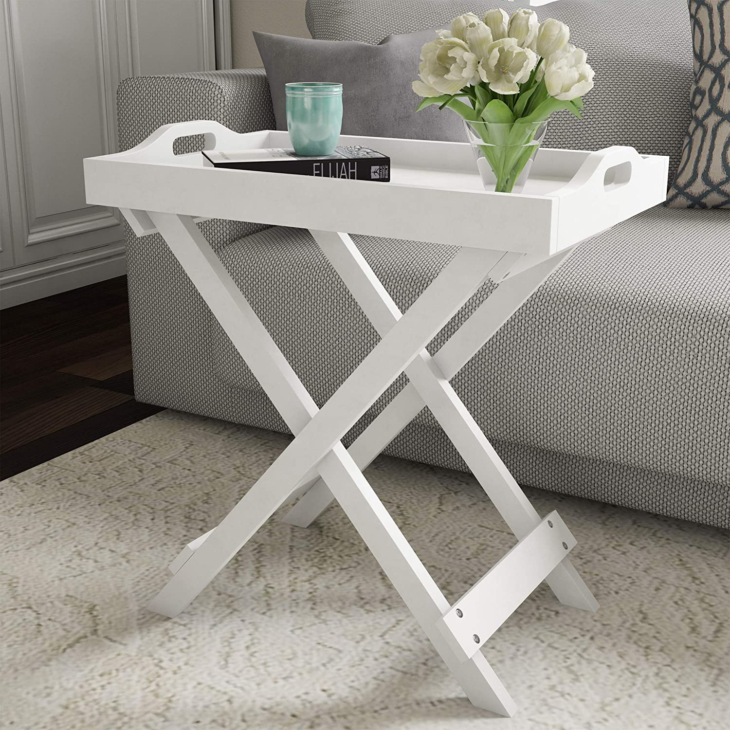 Amazon Com Lavish Home Display And Home Accent Table With Removable Tray Top White Furniture Decor