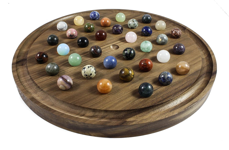 ソリティアボードゲーム 上質のクルミ材製 半貴石のミネラルマーブル付き B07934XBH6