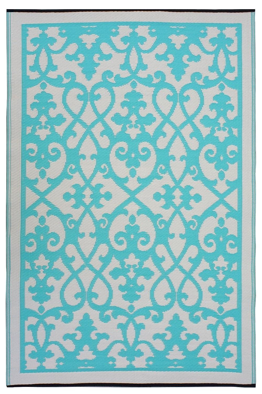 Fab Hab - Venice - Creme & Türkis - Teppich  Matte für den Innen- und Außenbereich (150 cm x 240 cm)