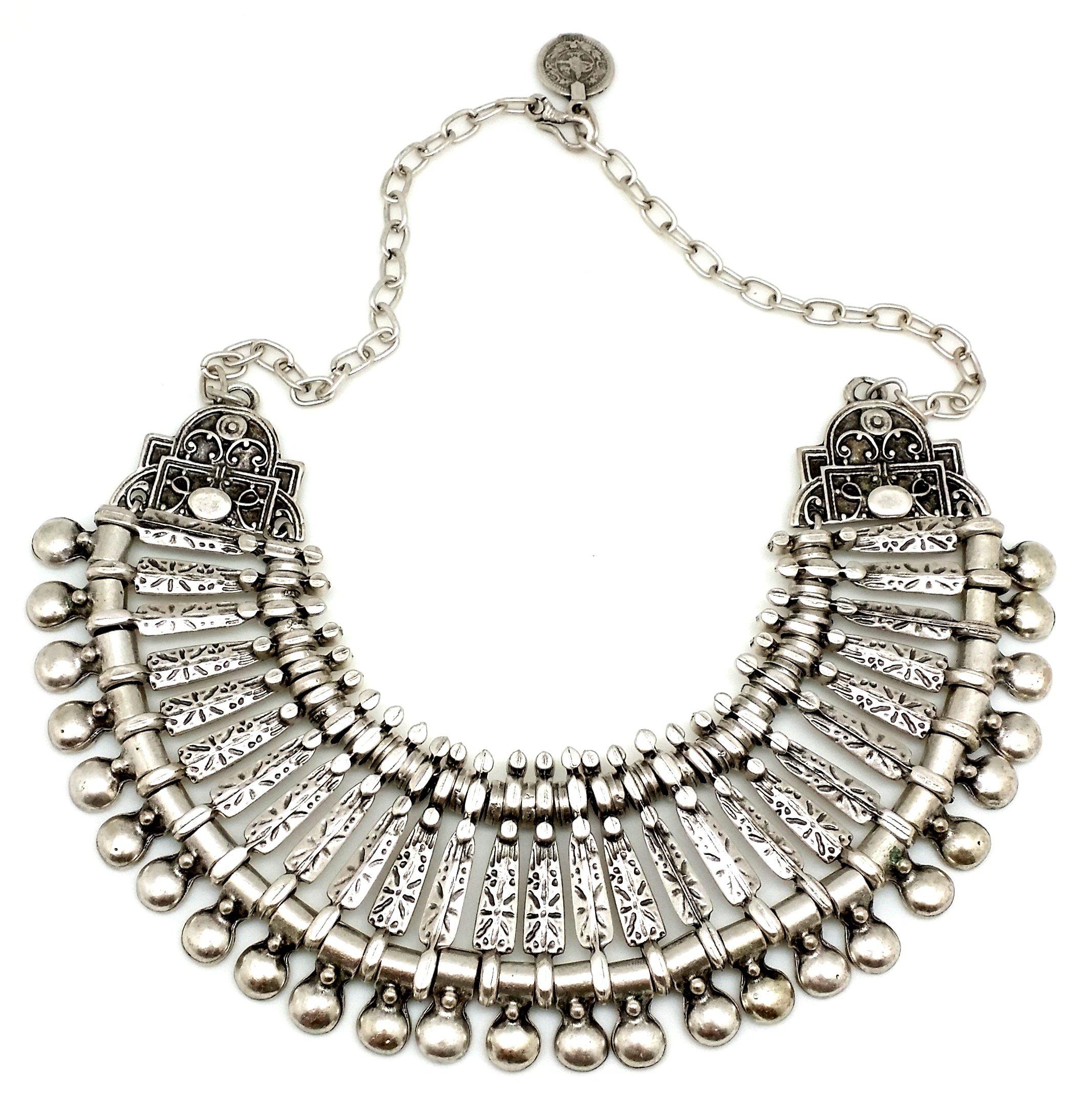 The Serro Gypsy Style Bohemian Turkish Vintage Silver Statement Necklace DAMANHUR 1004 by The Serro