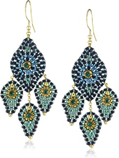 product image for Miguel Ases Blue Green Lotus Petal Three-Drop Earrings