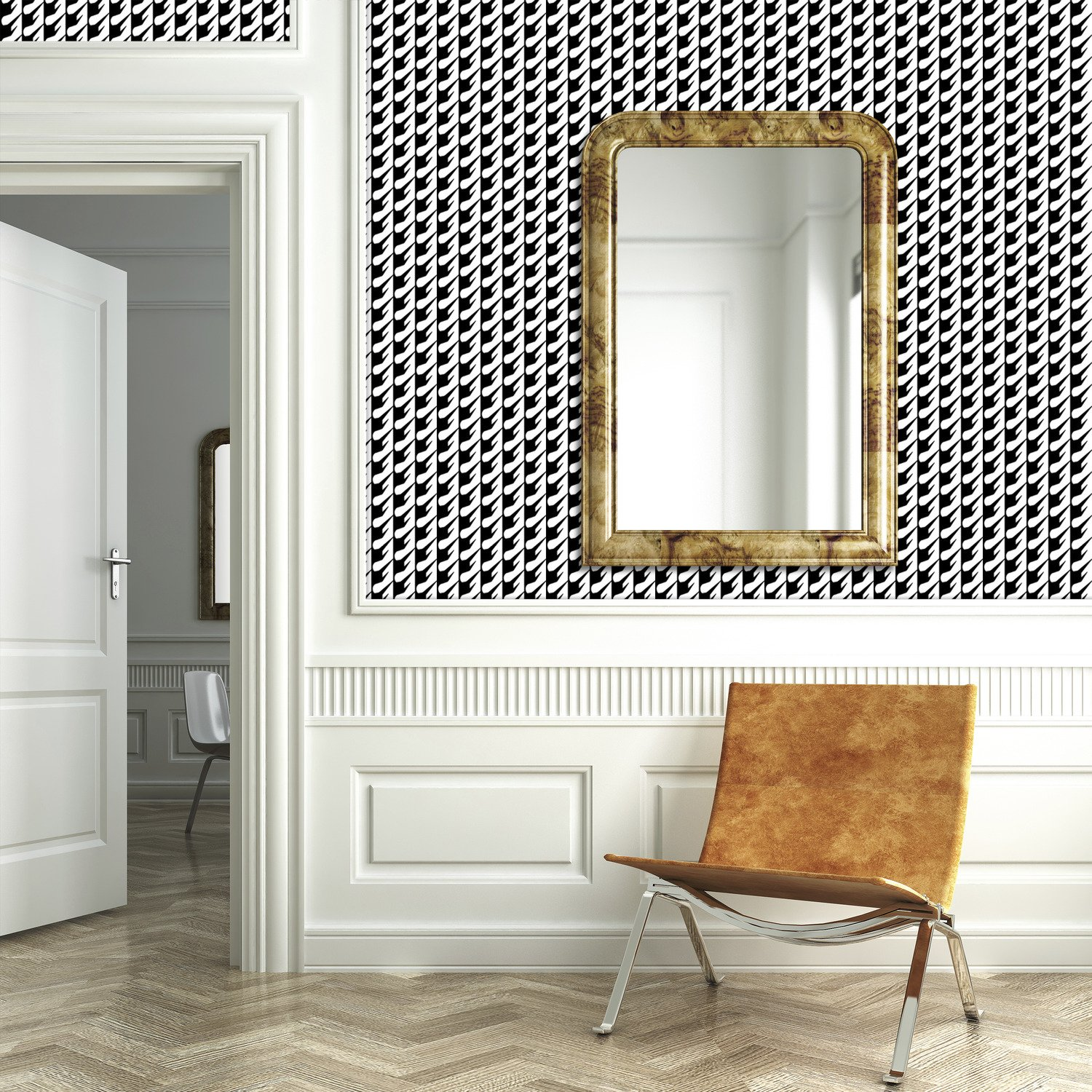 Houndstooth Expression Patterned mercial Textured Wallpaper by