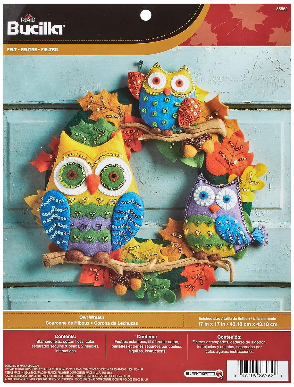 Bucilla Felt Applique Wall Hanging Kit, 17 by 17-Inch, 86562 Owl Wreath Plaid Inc dimensions needlecrafts holiday stitchery