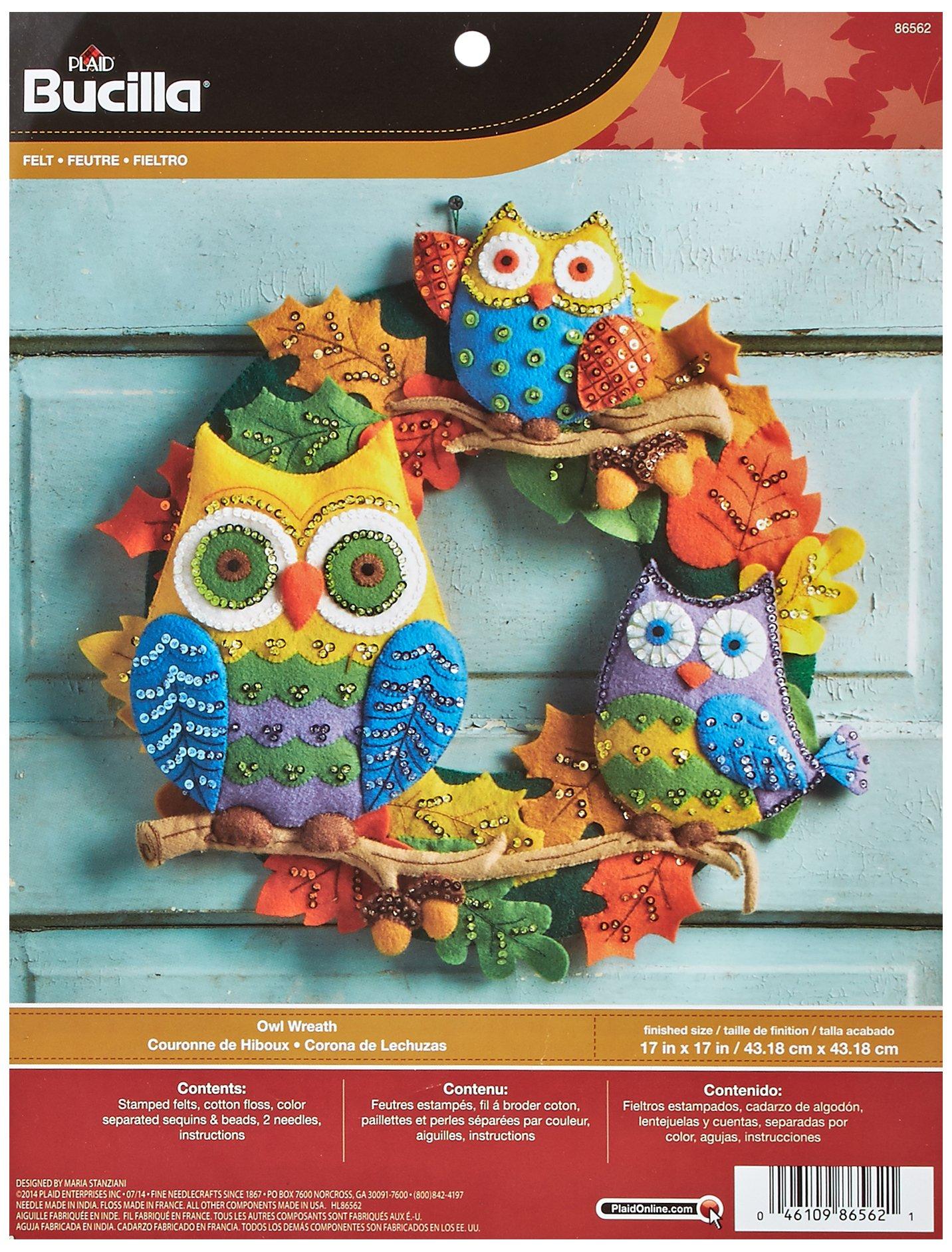 Bucilla Felt Applique Wall Hanging Kit, 17 by 17-Inch, 86562 Owl Wreath