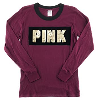 Victoria s Secret Pink Bling Campus Long Sleeve Pocket T-Shirt X-Small  Black Orchid 733842dc9