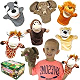 Animal Friends Deluxe Kids Hand Puppets with Working Mouth (Pack of 6) for Imaginative Play and Easter Basket Stuffers Fillers