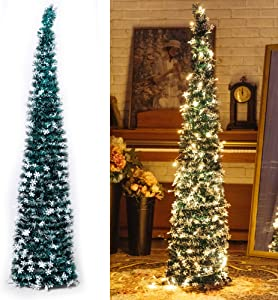 NIGHT-GRING Pop-Up Artificial Christmas Tree with 100LED Lights,Collapsible Pencil Christmas Trees for Holiday Carnival Party Christmas Decorations (Green)