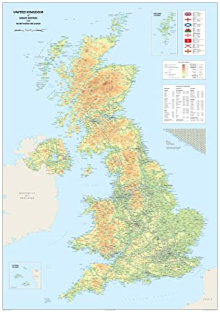 Map Of Ireland And Britain.United Kingdom Of Great Britain And Northern Ireland Map A0 Size 84 1 X 118 9 Cm