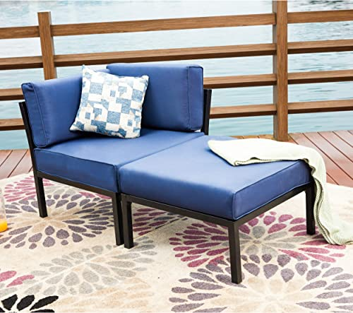 LOKATSE HOME 2 Piece Patio Sectional Furniture Set Outdoor Armchair Corner Sofa