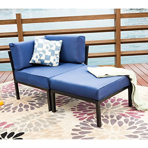 LOKATSE HOME 2 Piece Patio Sectional Furniture Set Outdoor Armchair Corner Sofa with Ottoman, 2Pcs-1, Blue Cushions