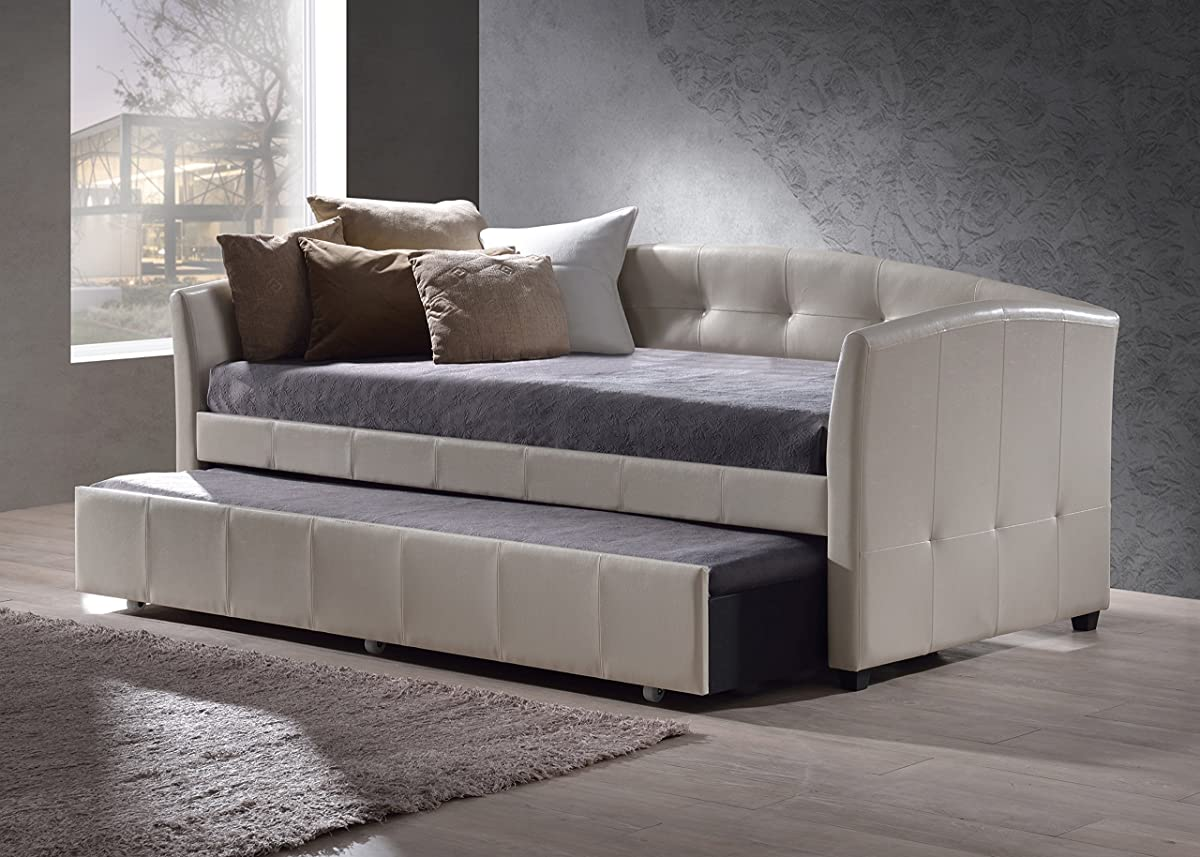 "Hillsdale 1061DBT Napoli Daybed with Trundle, 41.75"" D x 87"" L x 36.25"" H, Ivory"