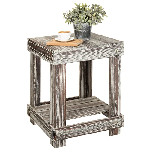 MyGift Rustic Torched Wood 2-Tier Accent End Table