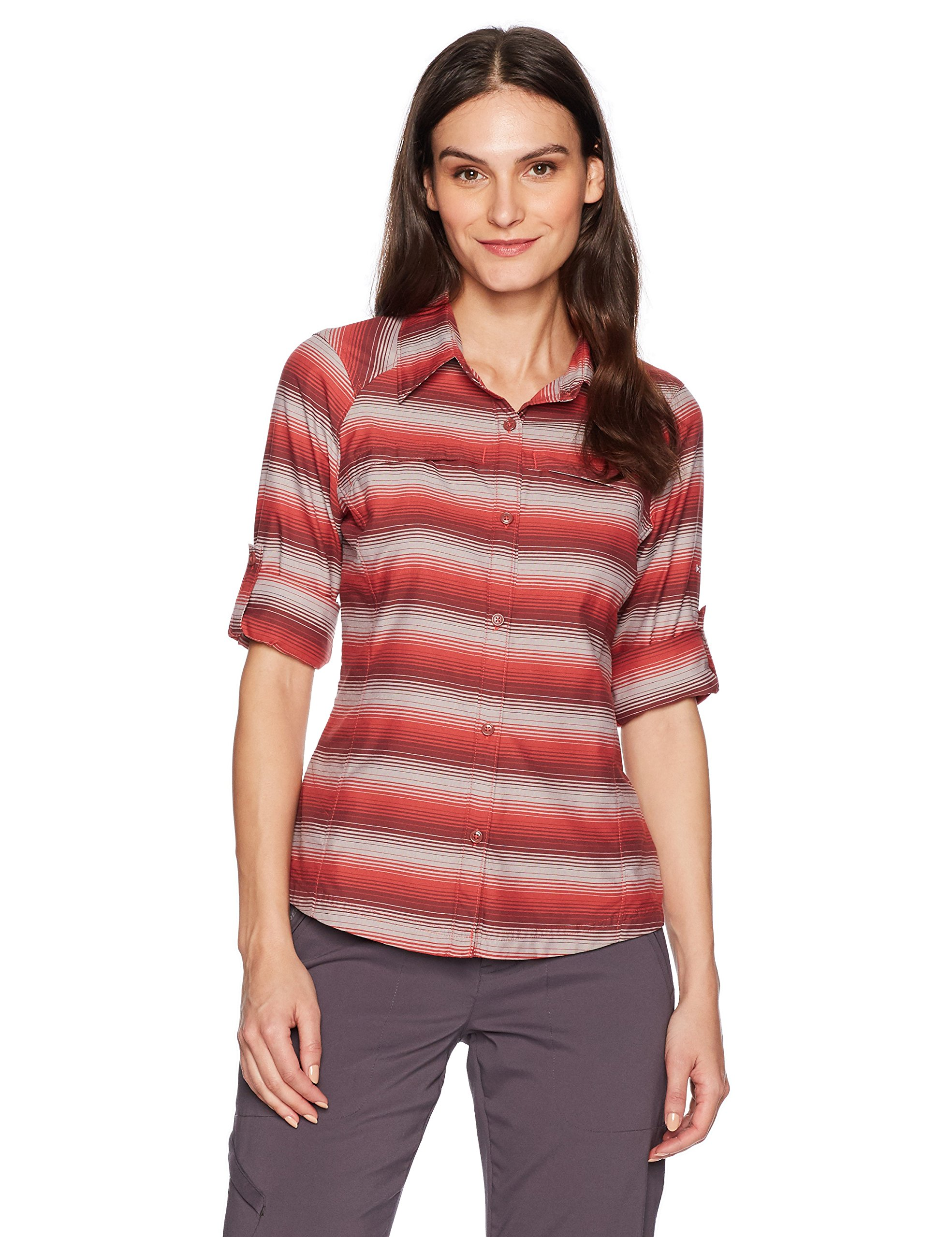 Columbia Silver Ridge Plaid Long Sleeve Shirt, Red Coral Ombre Stripe, Large by Columbia