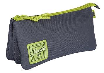 Finocam 5016250 Espir Estuches, 23 cm, Gris/Verde