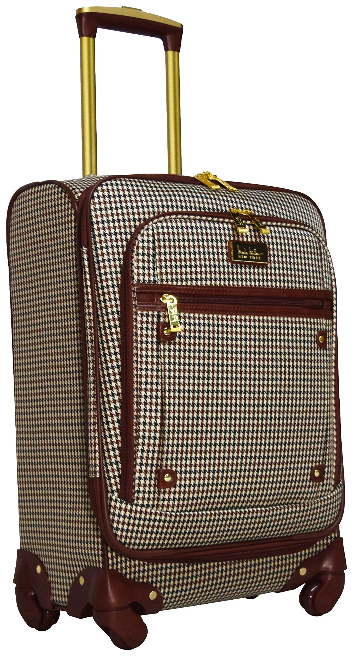 Nicole Miller Taylor 20'' Expandable Spinner Suitcase (Brown Plaid)