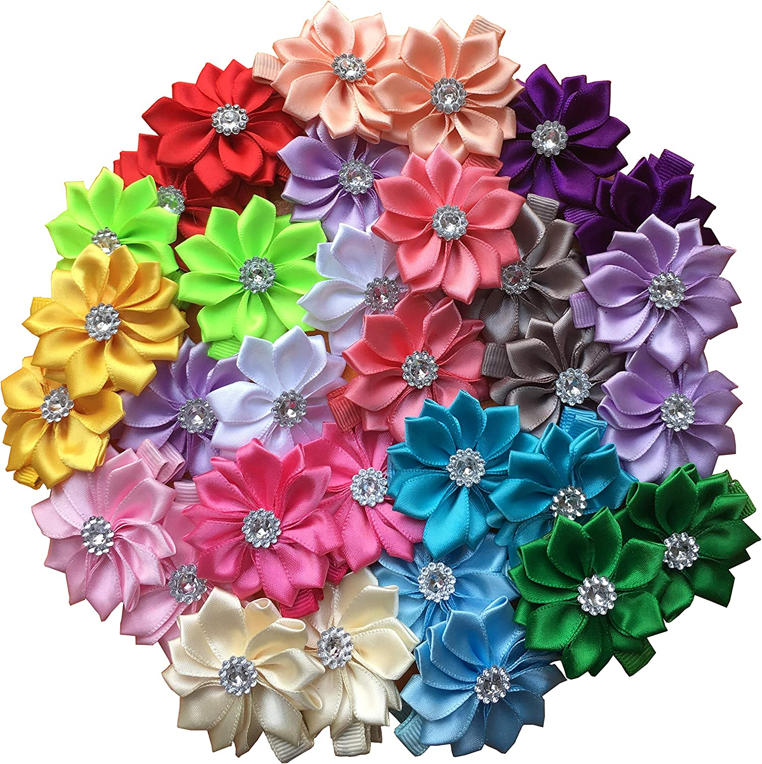 Baby Girl Safety Hair Clips Boutique Bows Barrettes for Baby Girls Toddler Teens Hair Accessories (Rhinestone Flower 32pcs)
