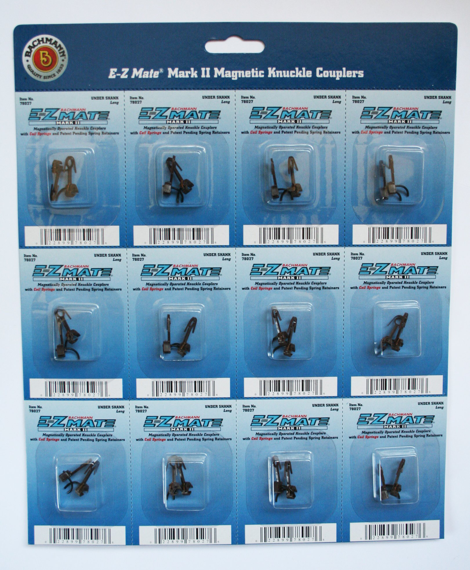 Bachmann Trains E - Z Mate Mark II Magnetic Knuckle Couplers with Metal Coil Spring - Under Shank - Short (12 Coupler pairs per card) - HO Scale