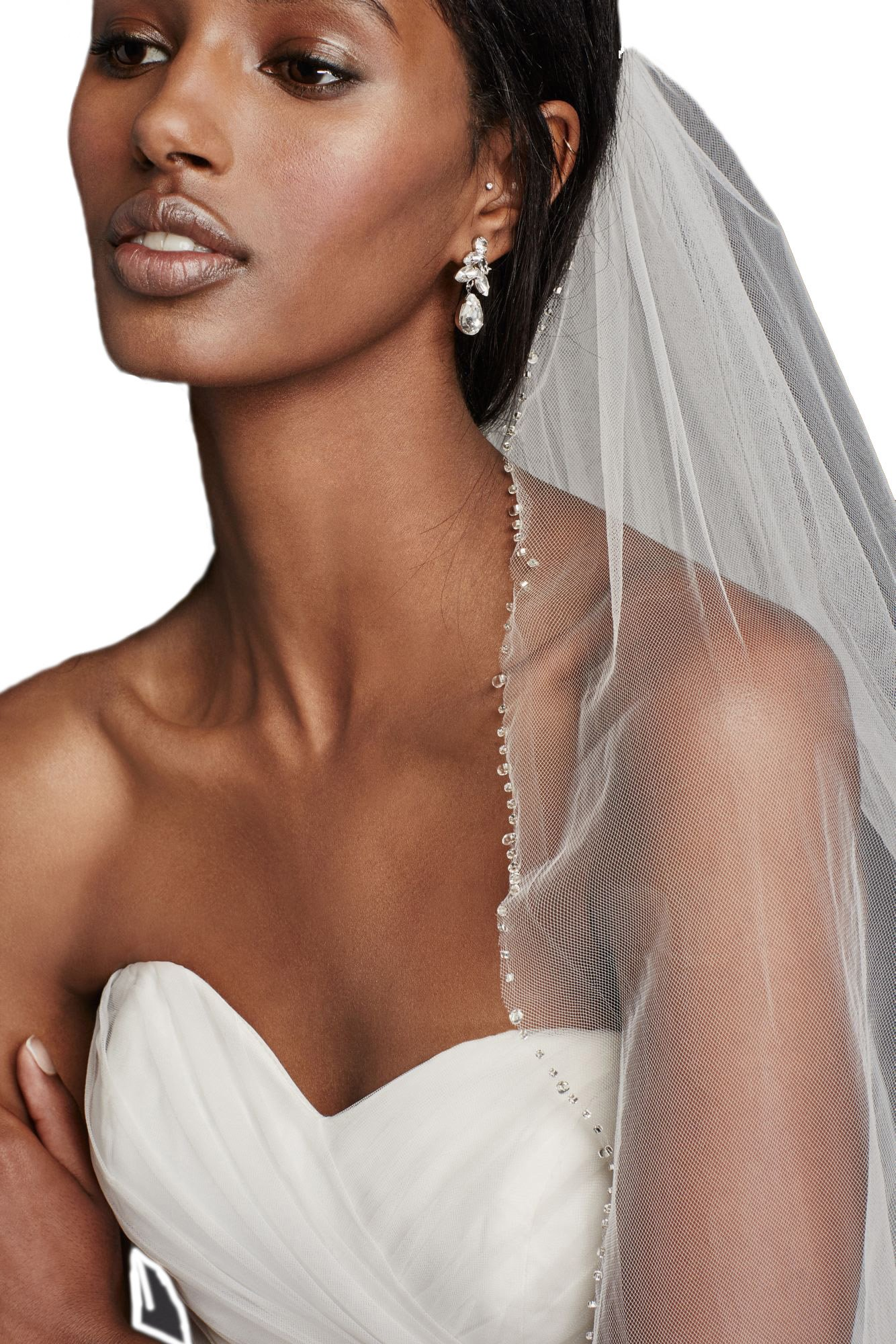 Passat Champagne Single-Tier 3M Cathedral Scalloped Wedding Veil with Beaded Scrollwork DB7