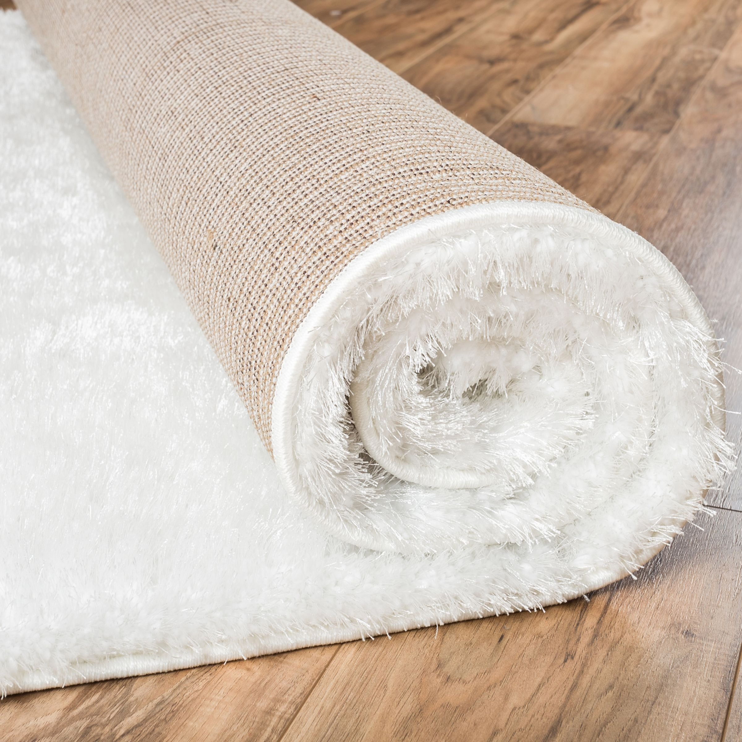 Shimmer Shag Snow White Solid Plain Modern Luster Ultra Thick Soft Plush Area Rug 7 x 10 ( 6'7'' x 9'10'' ) Contemporary Retro Polyester Textured 2'' Pile Yarn Easy Clean Stain Fade Resistant by Well Woven (Image #4)