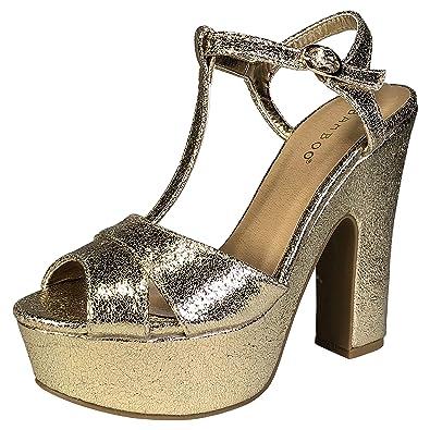 dbcbf3824d53 BAMBOO Women s High Chunky Heel T-Strap Platform Sandal
