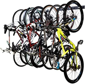 StoreYourBoard BLAT 8 Bike Wall Storage Rack, Holds Eight Bicycles Total, Heavy-Duty Solid Steel, Home and Garage Organizer Vertical Hanging Hooks